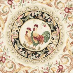 Hand-hooked Rooster Ivory/ Black Wool Rug (3' Round)