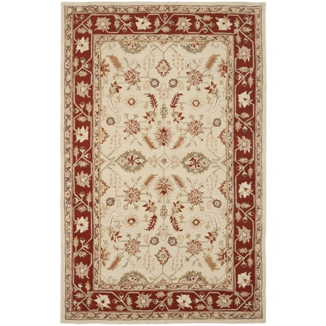 Safavieh Hand-hooked Oushak Ivory/ Rust Wool Rug (7'6 x 9'9)