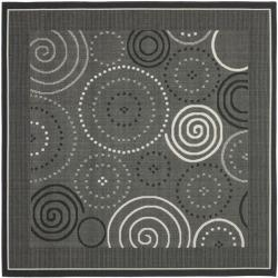 Safavieh Poolside Black/ Sand Indoor Outdoor Rug (6'7 Square)