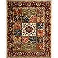 Handmade Heritage Panels Multi/ Red Wool Rug (7'6 x 9'6)