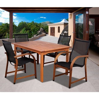 Amazonia Cosmopolitan 5-piece Eucalyptus Wood Rectangular Dining Set with Black Sling Chairs