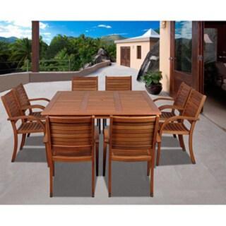 Amazonia Riviera 9-piece Eucalyptus Wood Square Dining Set
