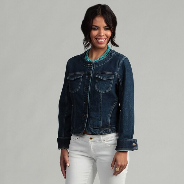 Live a Little Women's Sculpted Cropped Denim Jacket