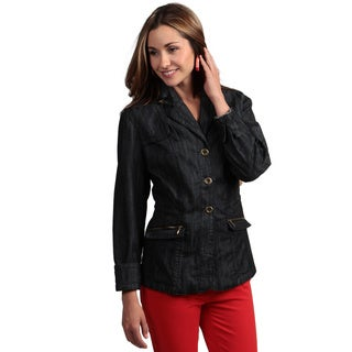 Live a Little Women's Rouched-detail Denim Blazer