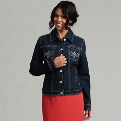 Live A Little Women's Embellished Denim Jacket