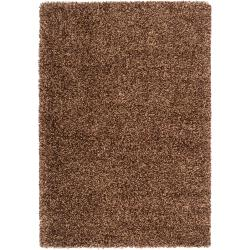 "Woven Brown Luxurious Soft Shag Area Rug (5'3"" x 7'6"")"