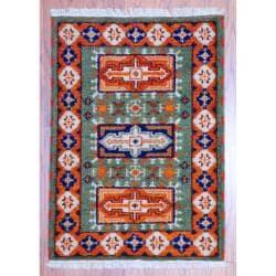 Herat Oriental Indo Hand-knotted Kazak Green/ Rust Wool Accent Rug (2' x 3')