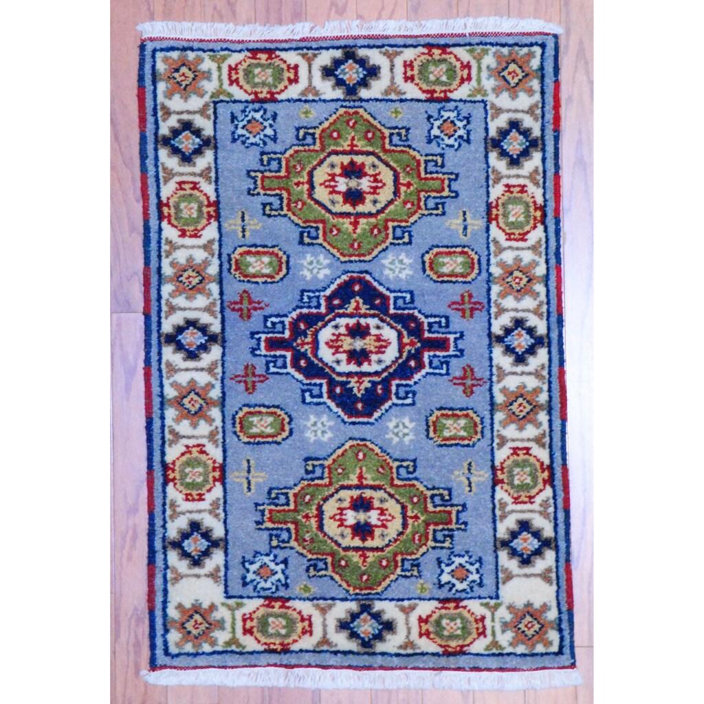 Herat Oriental Indo Hand-knotted Kazak Light Blue/ Grey Wool Rug (2' x 3')