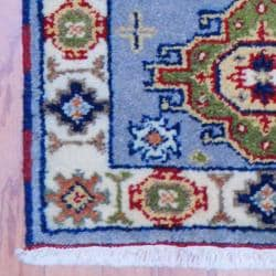 Indo Hand-knotted Kazak Light Blue/ Grey Wool Rug (2' x 3')