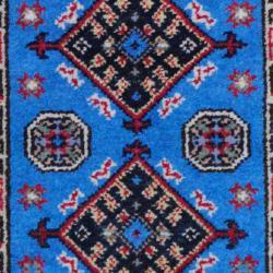 Herat Oriental Indo Hand-knotted Kazak Light Blue/ Gold Wool Rug (2' x 3')
