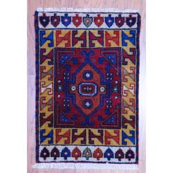 Traditional Indo Hand-Knotted Kazak Red/Gold Wool Rug (2' x 3')