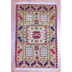 Indo Hand-knotted Kazak Light Green/ Gold Wool Rug (2' x 3')