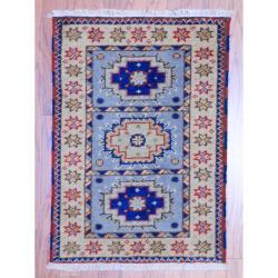 Herat Oriental Indo Hand-knotted Kazak Light Blue/ Grey Geometric Wool Rug (2' x 3')