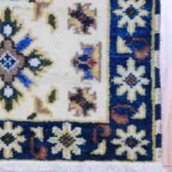 Indo Hand-knotted Kazak Ivory/ Teal Wool Rug (2' x 3')