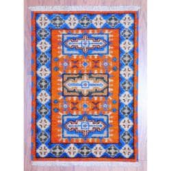 Herat Oriental Indo Hand-knotted Kazak Orange/ Blue Wool Rug (2' x 3')