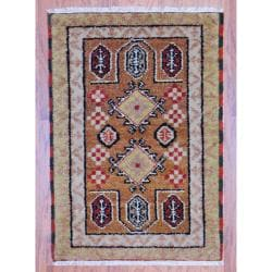 Indo Hand-knotted Kazak Light Brown/ Gold Wool Rug (2' x 3')