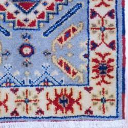 Indo Hand-Knotted Kazak Geometric Light Blue/Ivory Wool Rug (2' x 3')