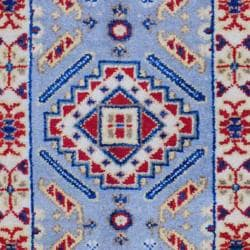 Indo Hand-Knotted Kazak Geometric Light Blue/Ivory Wool Rug (2' x 3')