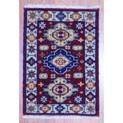 Traditional Indo Hand-Knotted Kazak Red/Ivory Wool Rug (2' x 3')