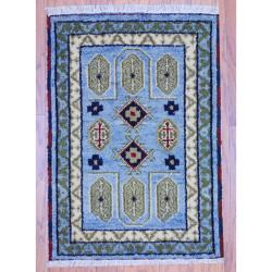 Indo Hand-knotted Kazak Light Blue/ Gray Wool Rug (2' x 3')