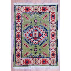 Indo Hand-knotted Kazak Light Green/ Ivory Wool Rug (2' x 3')