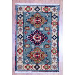 Indo Hand-knotted Kazak Light Blue/ Ivory Wool Rug (2' x 3')
