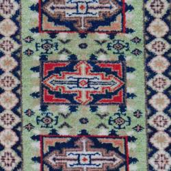 Indo Hand-Knotted Traditional Kazak Light Green/Navy Wool Rug (2' x 3')