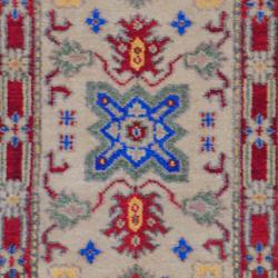 Indo Hand-knotted Kazak Geometric Beige/Rust Wool Rug (2' x 3')