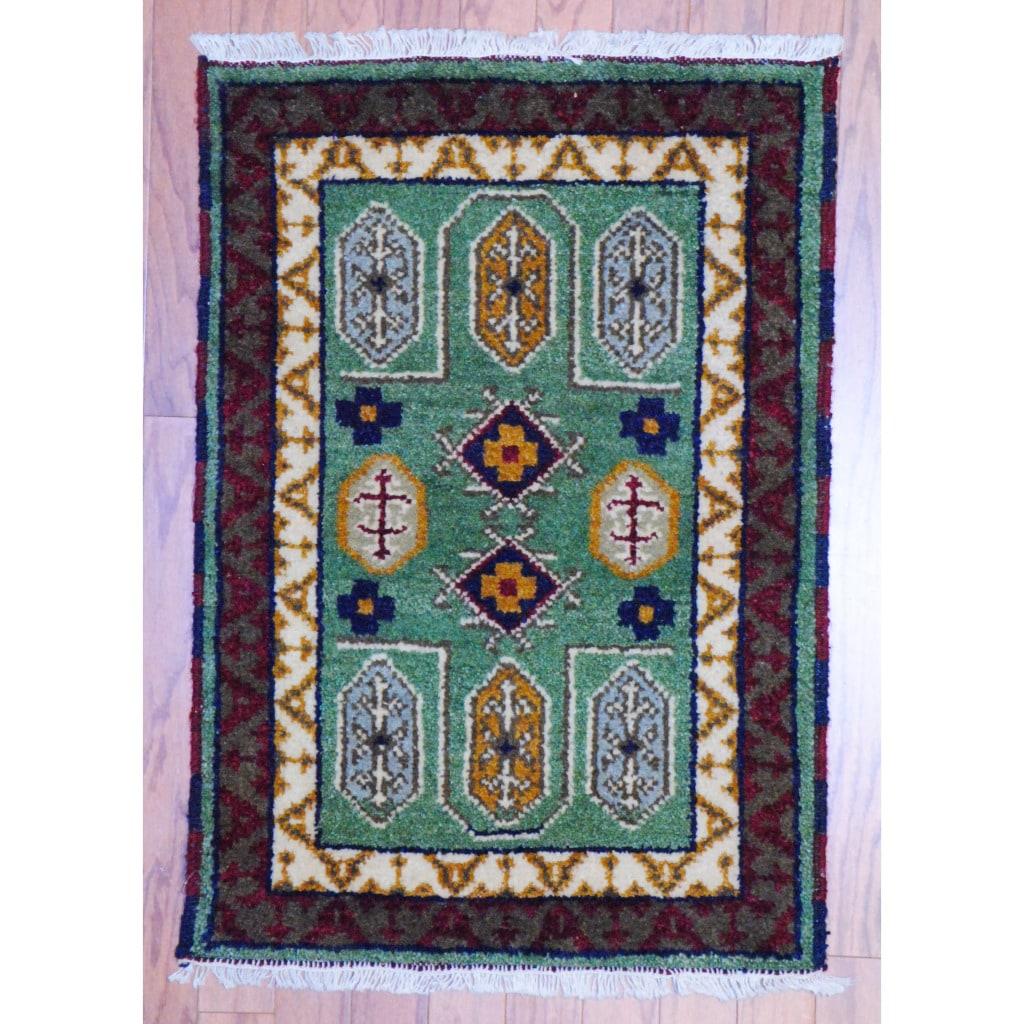 Herat oriental Indo Hand-knotted Kazak Green/ Ivory Wool Rug (2' x 3')