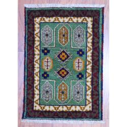 Indo Hand-knotted Kazak Green/ Ivory Wool Rug (2' x 3')