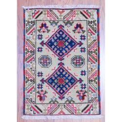 Herat Oriental Indo Hand-knotted Kazak Beige/ Ivory Wool Rug (2' x 3')