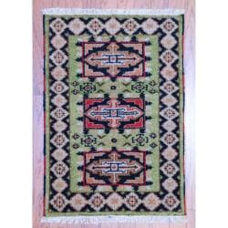 Indo Hand-knotted Kazak Light Green/ Navy Wool Rug (2' x 3')