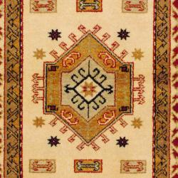 Indo Hand-Knotted Kazak Ivory/Rust Wool Area Rug (3' x 5')