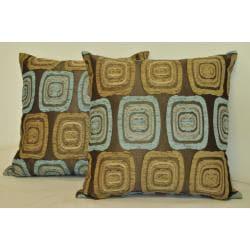 Sherry Kline Retro 18x18 Spa Blue Taupe Pillow (Set of 2)