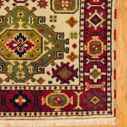 Indo Hand-Knotted Kazak Beige/Rust Wool Area Rug (3' x 5')