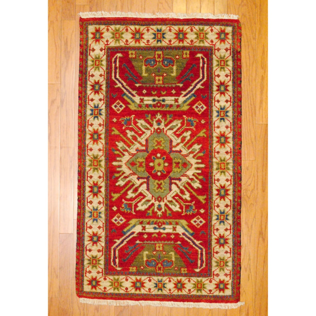 Indo Hand-Knotted Kazak Red/Ivory Geometric Pattern Wool Rug (3' x 5')