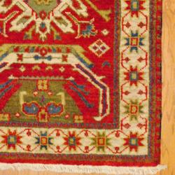 Indo Hand-Knotted Kazak Red/Ivory Geometric Pattern Wool Rug (3' x 5')