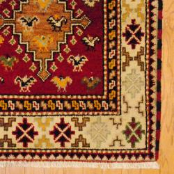 Indo Hand-knotted Kazak Red/ Ivory Wool Rug (3' x 5')