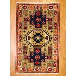 Indo Hand-knotted Kazak Beige/ Navy Wool Rug (3' x 5')