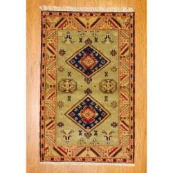 Traditional Indo Hand-Knotted Kazak Light Green/Gold Wool Rug (3' x 5')