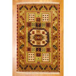 Indo Hand-knotted Kazak Light Green/ Gold Wool Rug (3' x 5')