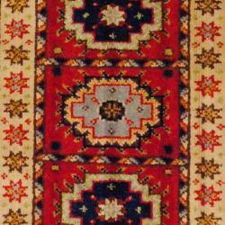 Indo Hand-knotted Kazak Rust/ Beige Wool Rug (2' x 3')