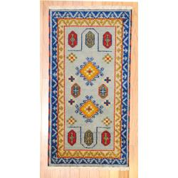 Indo Hand-knotted Kazak Light Blue/ Gray Wool Rug (2' x 4')