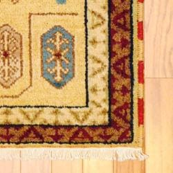 Indo Hand-knotted Kazak Ivory/ Red Wool Rug (2' x 4')