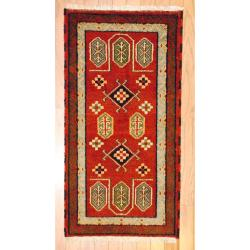 Indo Hand-knotted Kazak Rust/ Brown Wool Rug (2' x 4')