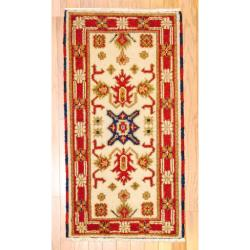 Indo Hand-knotted Kazak Ivory/ Rust Wool Rug (2' x 4')