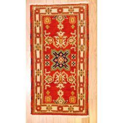 Indo Hand-knotted Kazak Orange/ Rust Wool Rug (2' x 4')
