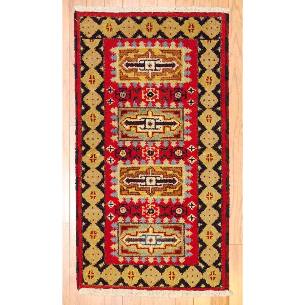 Herat Oriental Indo Hand-knotted Kazak Red/ Navy Wool Rug (2' x 4')