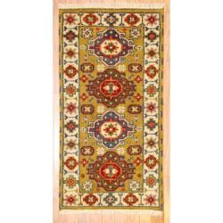 Indo Hand-knotted Kazak Light Brown/ Gold Wool Rug (2' x 4')