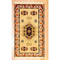 Indo Hand-knotted Kazak Beige/ Rust Wool Rug (2' x 4')